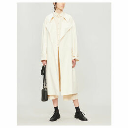 Oversized belted cotton trench coat