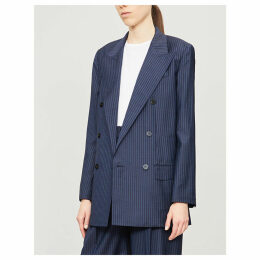Striped padded-shoulder wool blazer