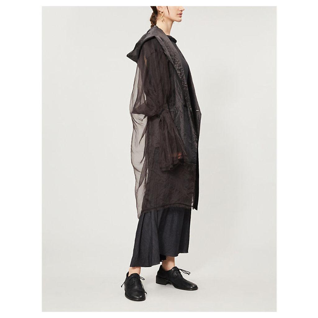 Flared-cuff silk coat