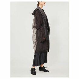 Flared-cuff silk coat