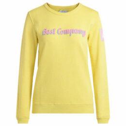 Best Company  yellow cotton roundneck fleece.  women's Sweatshirt in Yellow