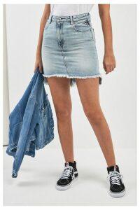 Womens Replay Light Wash Denim Skirt -  Blue