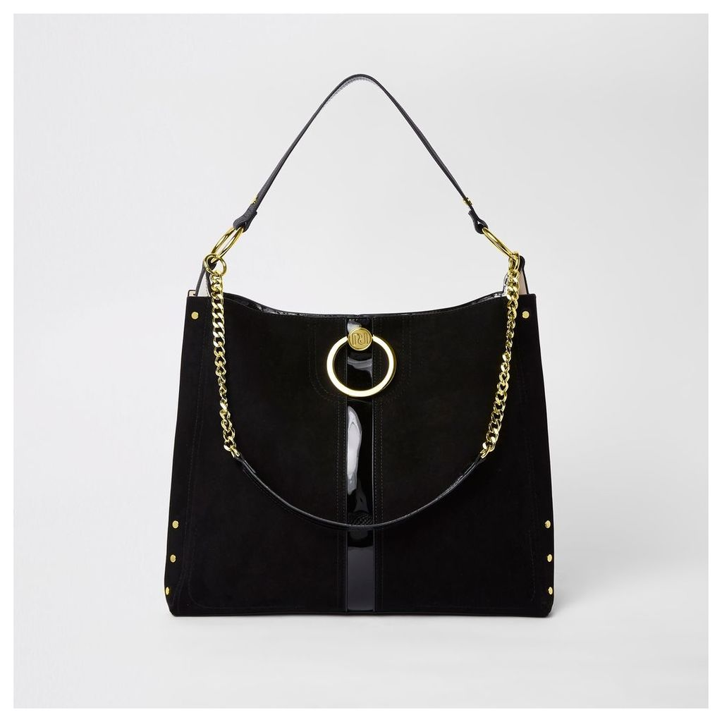Womens Black circle gold chain slouch bag