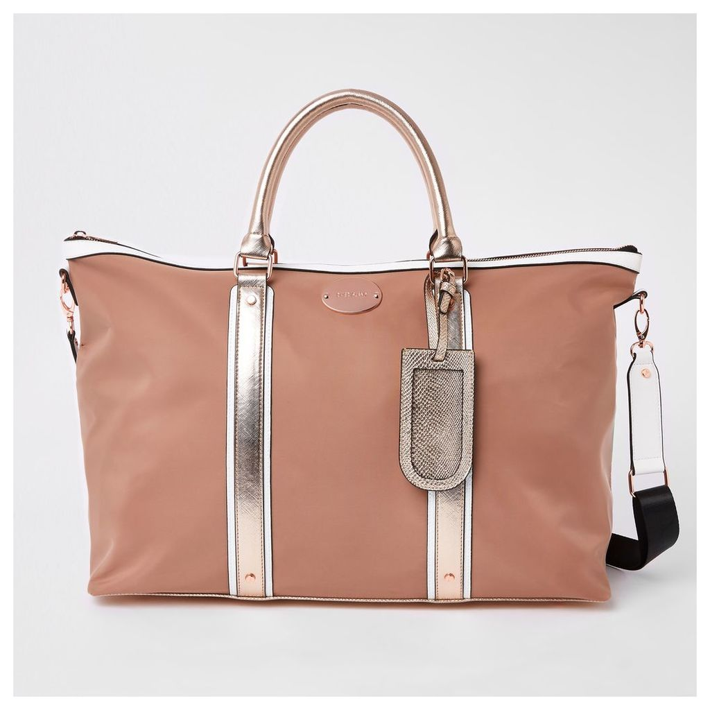 Womens Beige mixed panel weekend bag