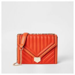 Womens Orange quilted cross body bag
