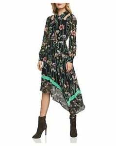 Bcbgmaxazria Asymmetric Botanical Cutout Dress