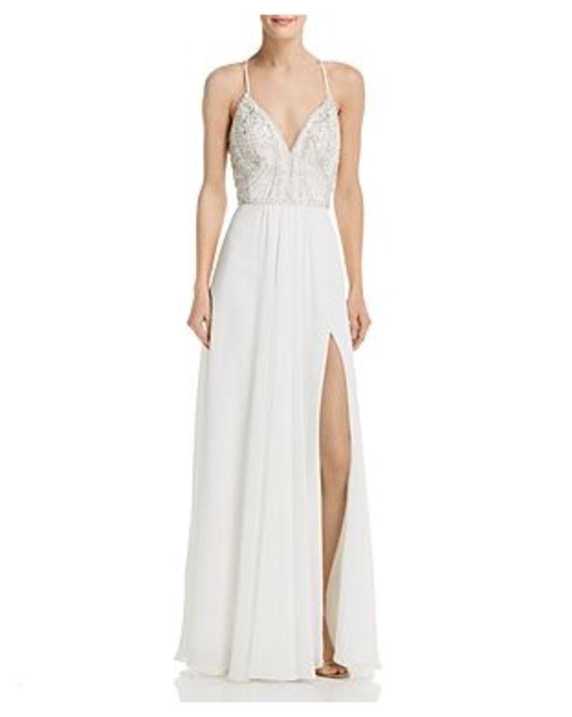 Aqua Embellished Chiffon Gown - 100% Exclusive