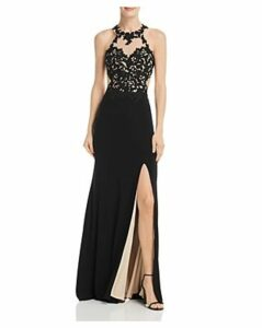 Avery G Embroidered Illusion Gown