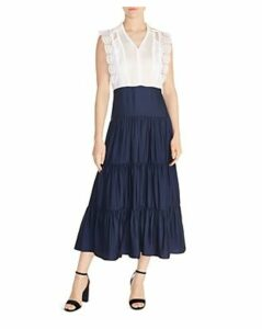 Sandro Maxime Tiered Lace-Inset Maxi Dress