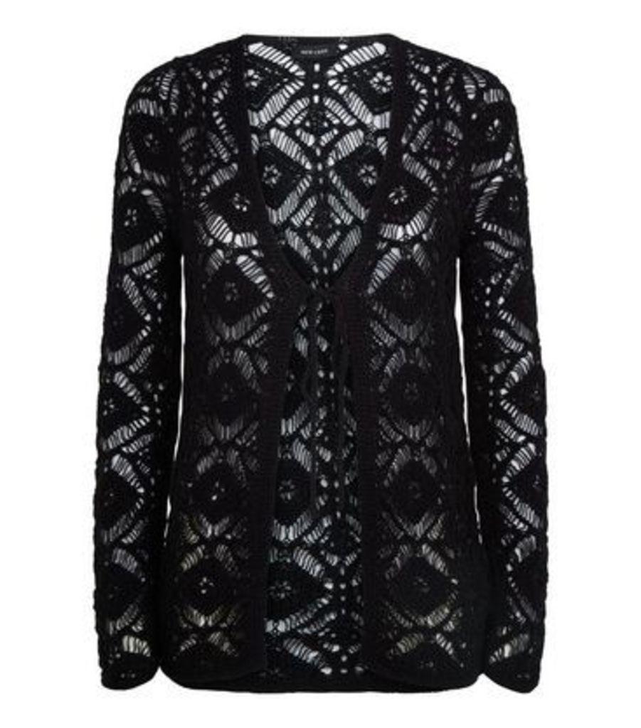 Black Crochet Tie Front Cardigan New Look