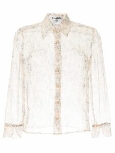 Chanel Pre-Owned long sleeve see-through shirt - Orange