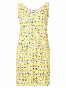 Chanel Pre-Owned heart printed mini dress - Yellow