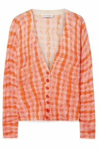 Altuzarra - Natalia Checked Cotton And Silk-blend Cardigan - Orange