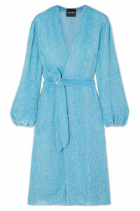 Retrofête - Audrey Velvet-trimmed Sequined Chiffon Wrap Dress - Blue