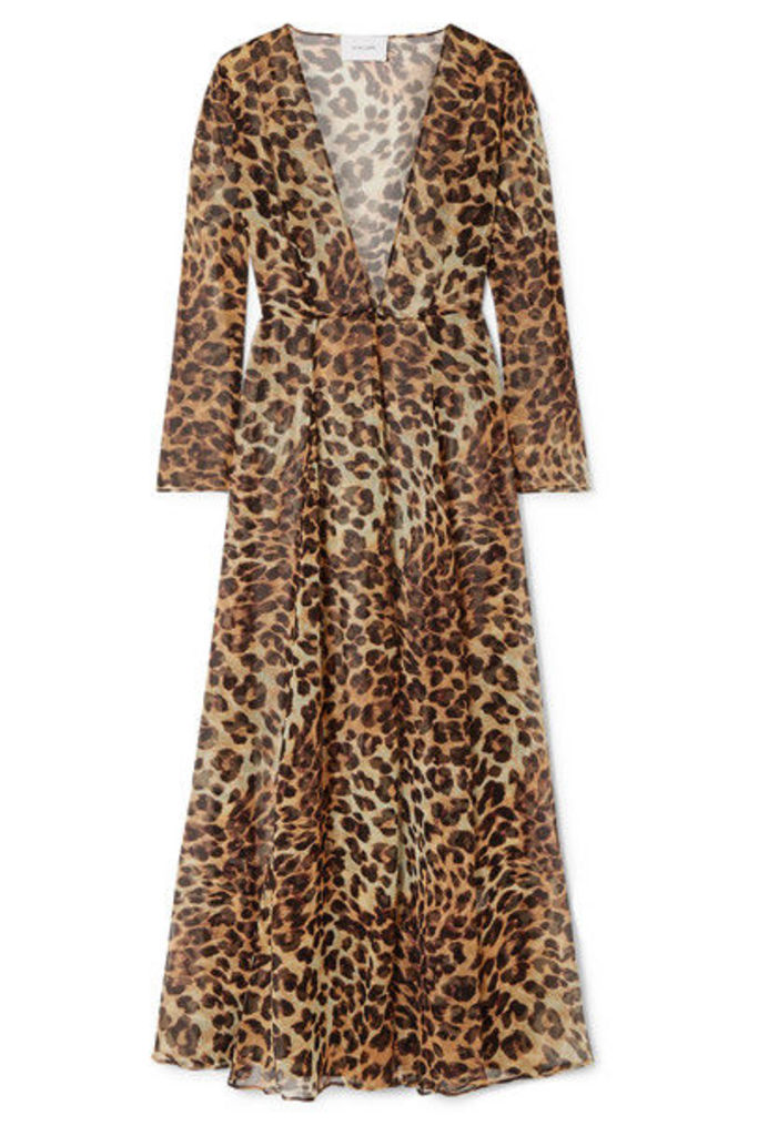 we are LEONE - Leopard-print Silk-chiffon Robe - Leopard print