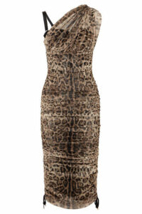 Dolce & Gabbana - One-shoulder Lace-up Leopard-print Mesh Dress - Leopard print
