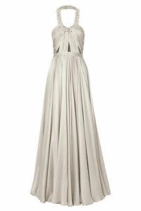 Reem Acra - Embellished Ruched Silk-satin Halterneck Gown - Silver