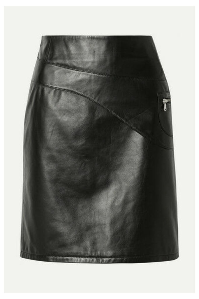 Sandy Liang - Blossom Paneled Leather Skirt - Black