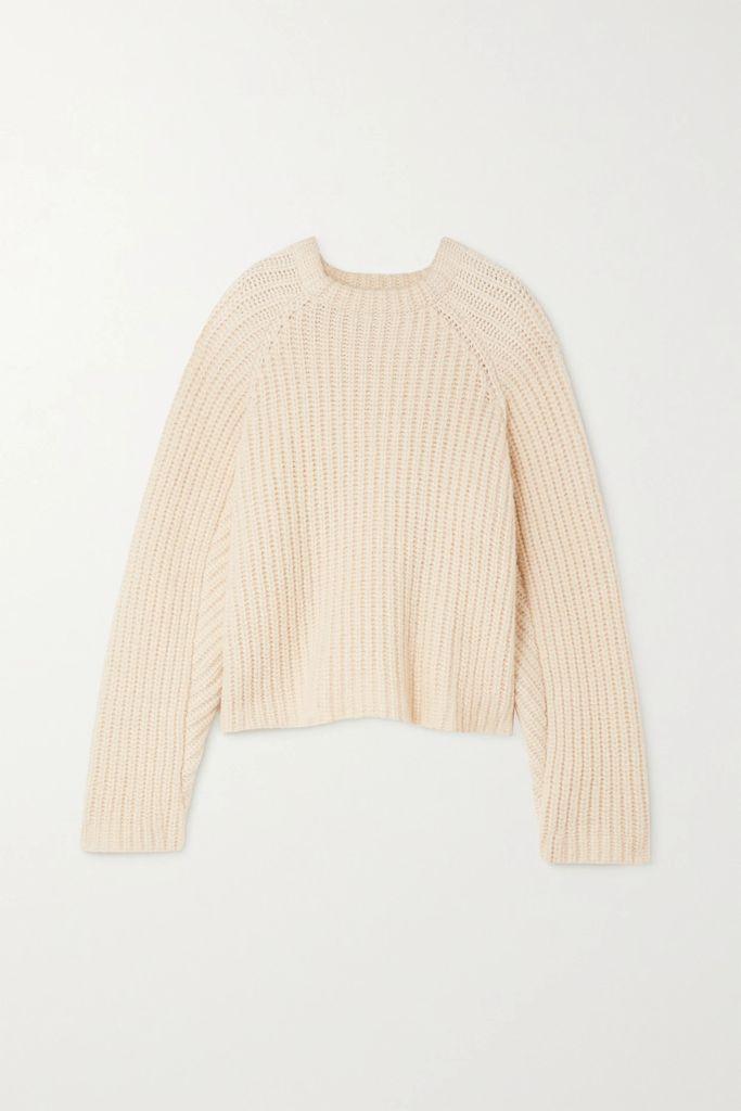 Rosetta Getty - Cotton-trimmed Tweed Wrap Dress - Ecru