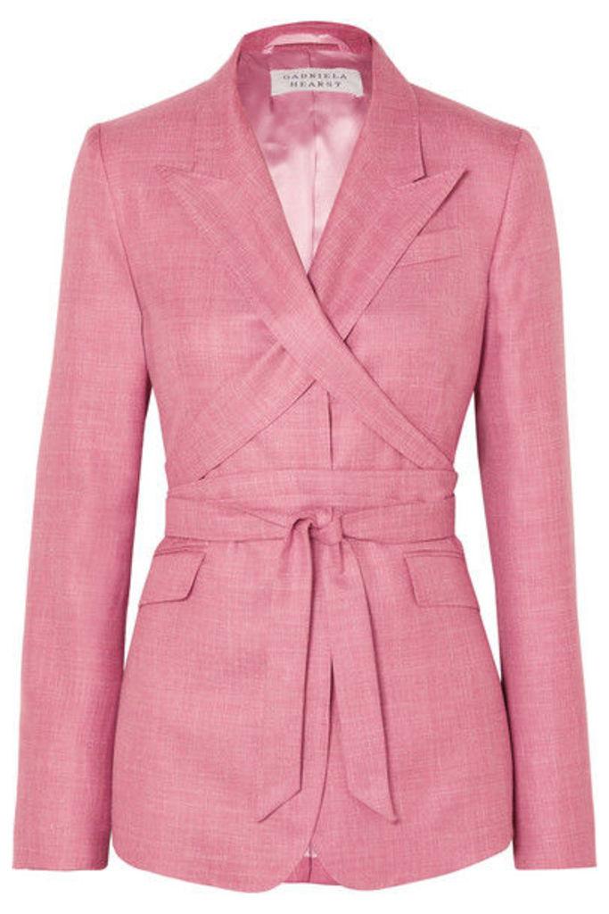 Gabriela Hearst - Nutter Belted Wool, Silk And Linen-blend Blazer - Pink