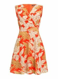 Womens *Tenki Red Floral Print Skater Dress- Red, Red