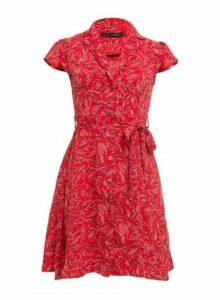 Womens *Tenki Red Pattern Shirt Dress- Red, Red
