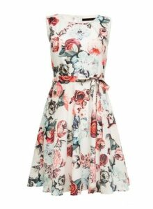 Womens *Tenki White Floral Print Skater Dress- White, White