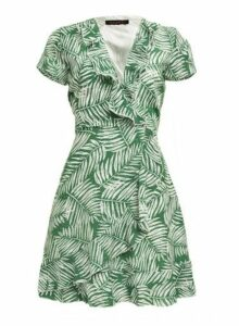Womens *Tenki Green Leaf Ruffle Dress- Green, Green
