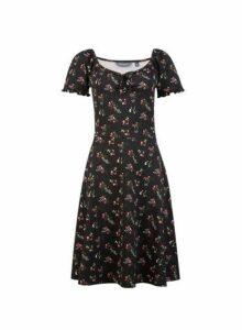 Womens **Tall Black Ditsy Print Gypsy Skater Dress, Black