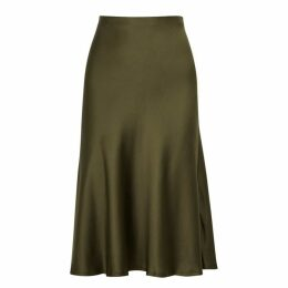 Nili Lotan Lane Olive Silk Skirt