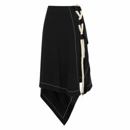 MONSE Black Rope-embellished Asymmetric Skirt