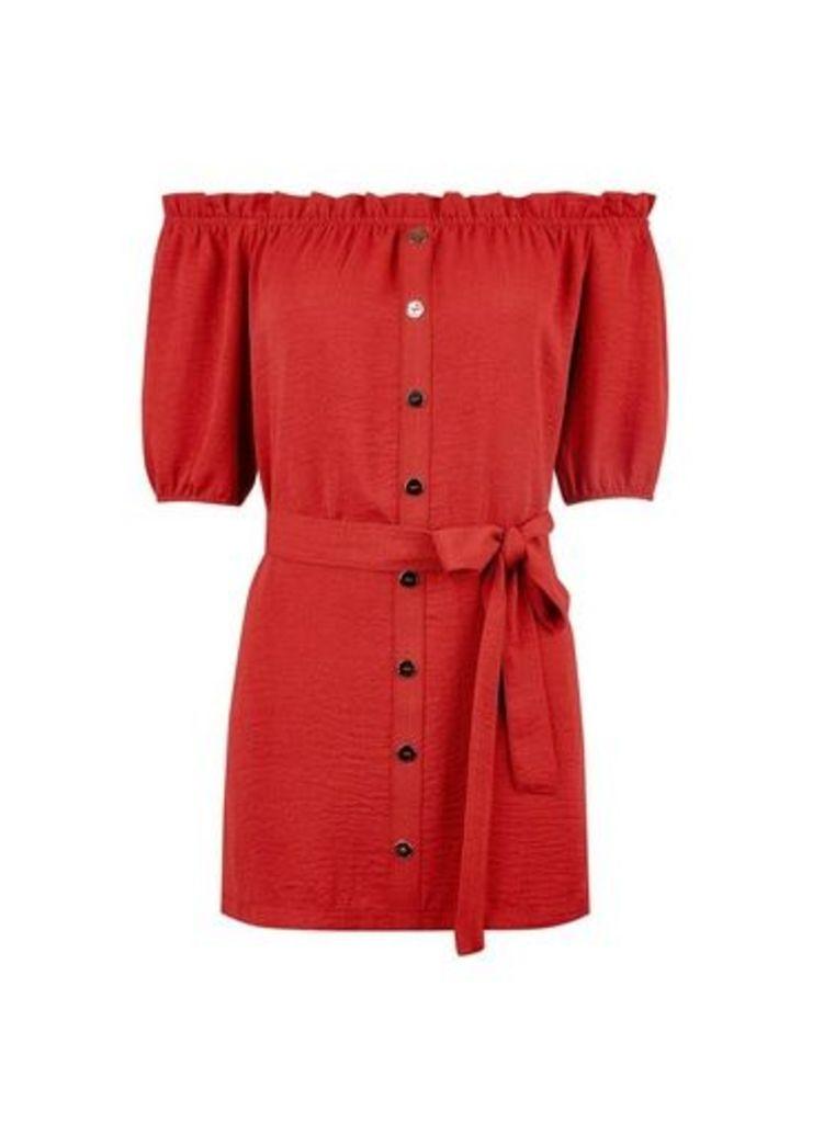 Womens Red Terracotta Longline Bardot Tunic Top- Orange, Orange
