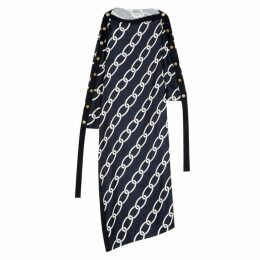 MONSE Navy Chain-print Silk Maxi Dress