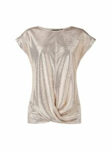 Womens Gold Twist Hem T-Shirt- Gold, Gold