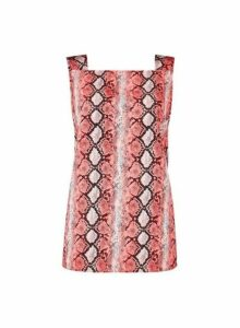 Womens Pink Snake Print Square Neck Top- Pink, Pink