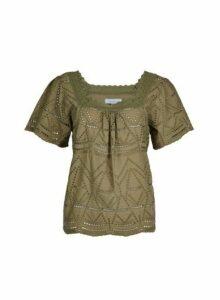 Womens Petite Khaki Square Neck Cotton Top- Khaki, Khaki