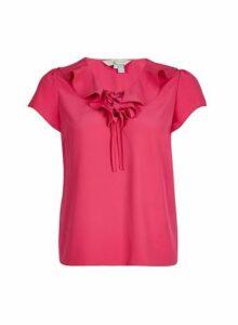 Womens **Billie & Blossom Petite Pink Ruffle Blouse- Pink, Pink