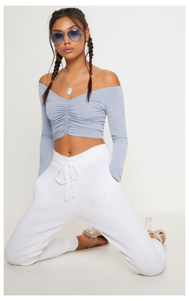 Powder Blue Slinky Ruched Front Long Sleeve Crop Top, Blue