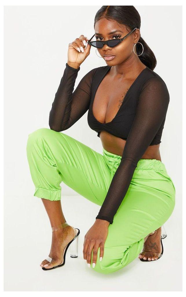 Petite Black Ruched Front Long Sleeve Mesh Crop Top, Black