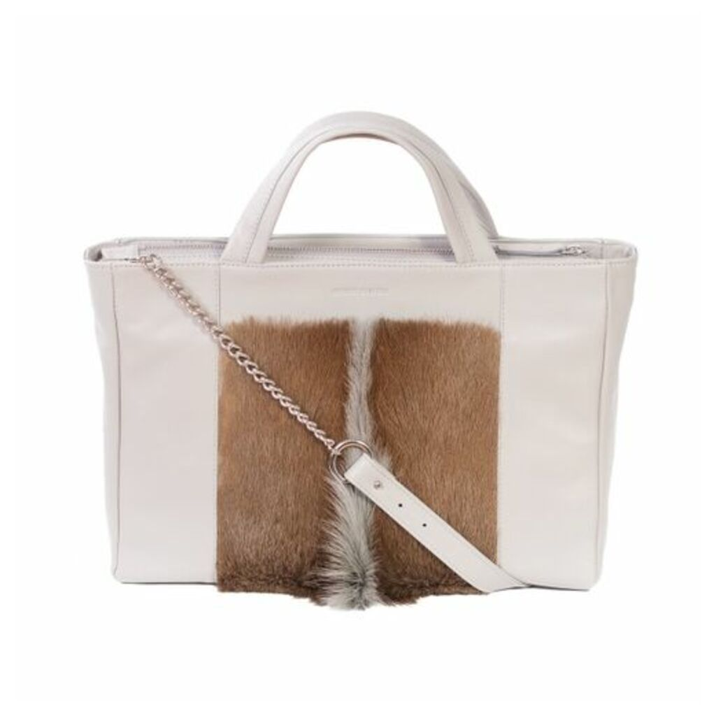 SHERENE MELINDA Tote Springbok Leather Handbag In Earth With A Fan