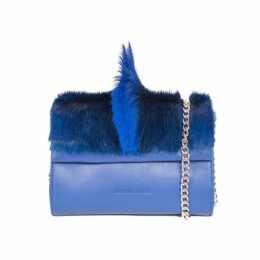 SHERENE MELINDA Mini Springbok Leather Handbag In Royal Blue With A Fan