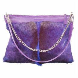 SHERENE MELINDA Multiway Springbok Leather Handbag In Violet With A Fan