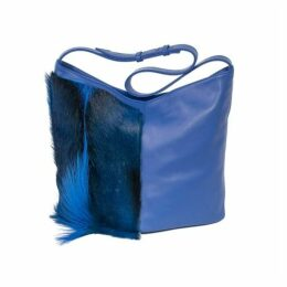 SHERENE MELINDA Hobo Springbok Leather Handbag In Royal Blue With A Fan