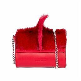SHERENE MELINDA Mini Springbok Leather Handbag In Red With A Fan