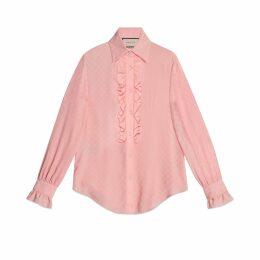 GG silk ruffle shirt