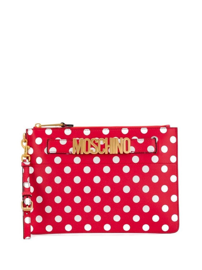 Moschino polka dots print clutch - Red