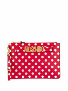 Moschino polka dots print clutch - Red
