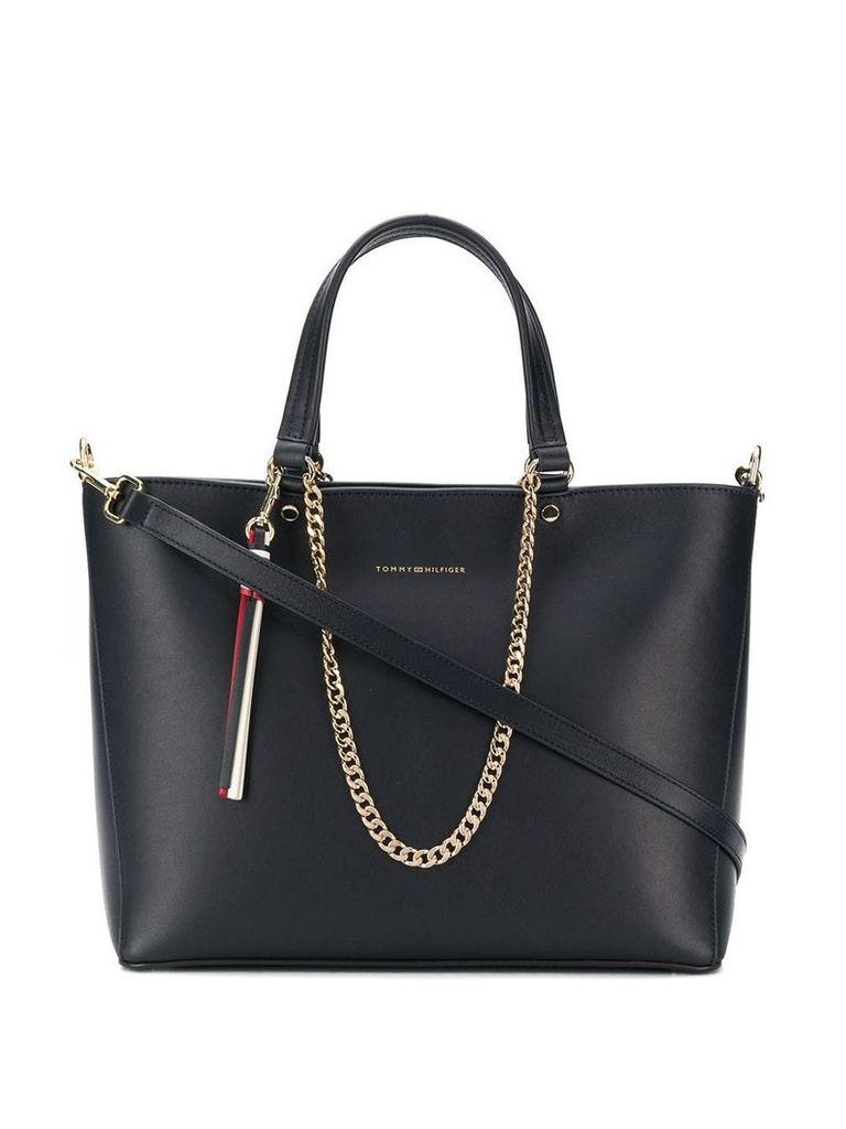 Tommy Hilfiger chain embellished tote bag - Blue