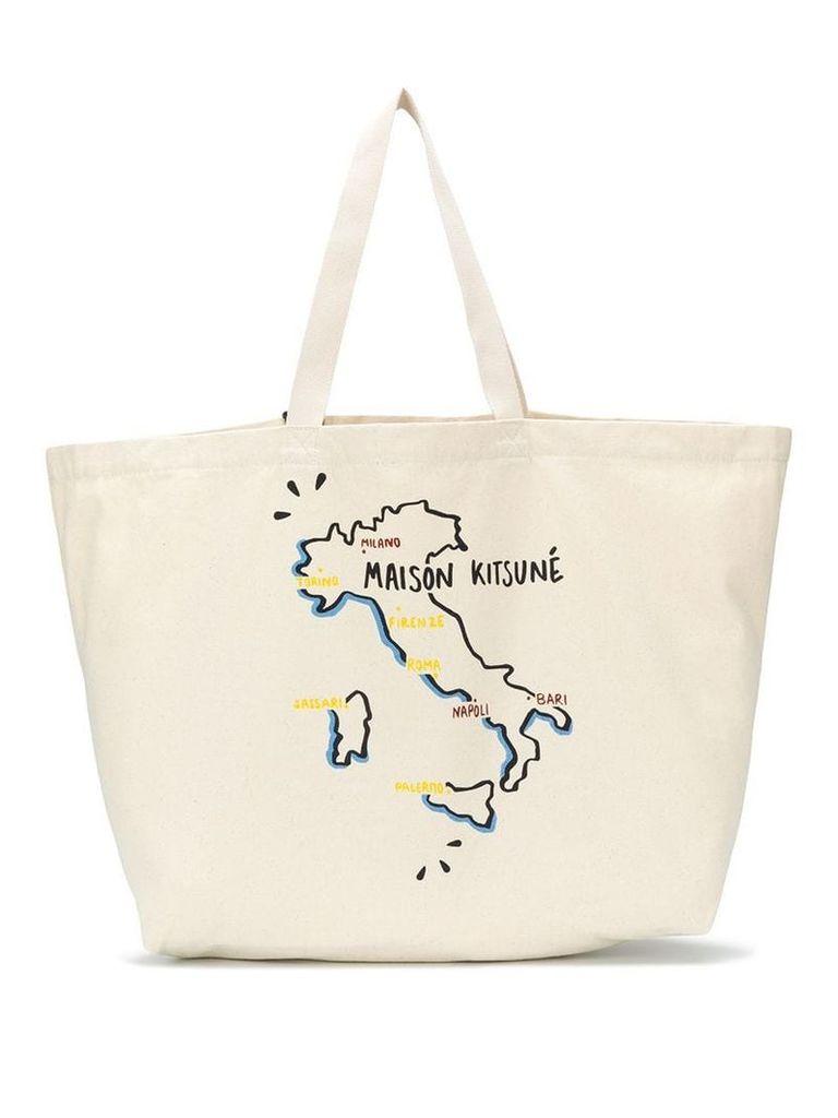 Maison Kitsuné Italy print tote bag - Neutrals