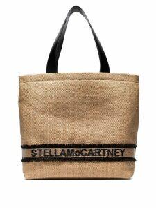 Stella McCartney woven logo tote bag - Neutrals